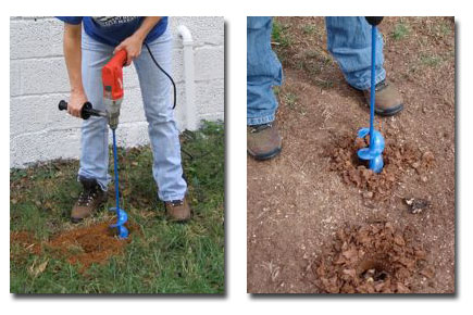Using a garden auger with a corded Milwaukee drill